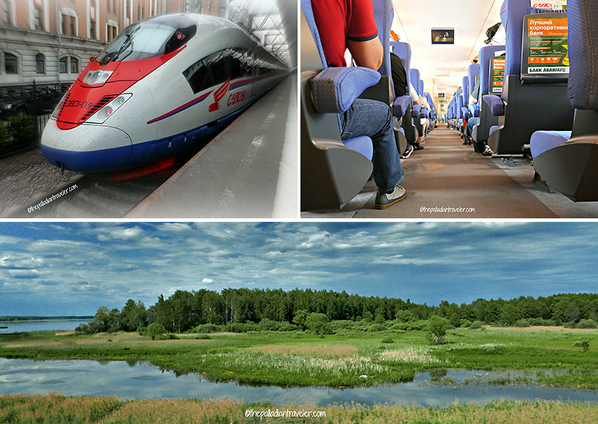 Sapsan Seven-Six-Fiver bullet train and scenery on the way to Moscow