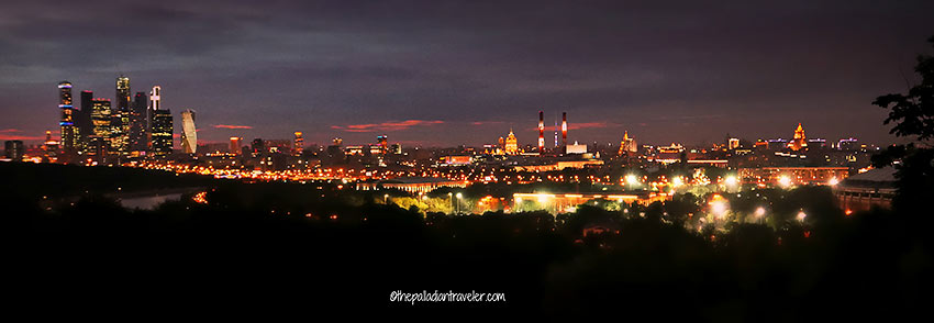 view of Moscow proper at night from Vorobyovy Gory (Sparrows Hill)