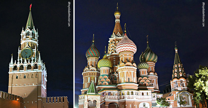the Kremlin's Spasskaya (Savior) Tower and St. Basil's Cathedral, Red Square, Moscow
