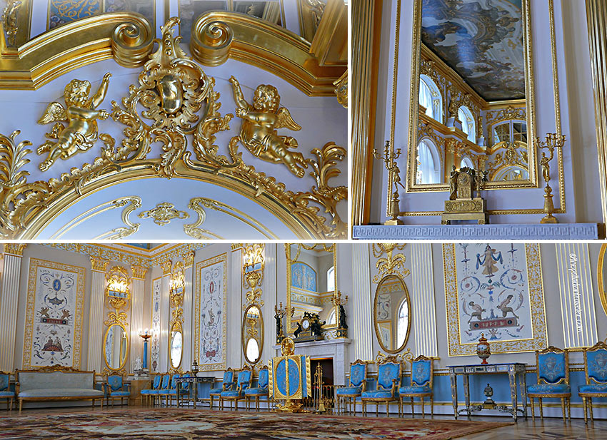 the Great Hall with its gilded stucco decoration and the Blue Room, Catherine Palace