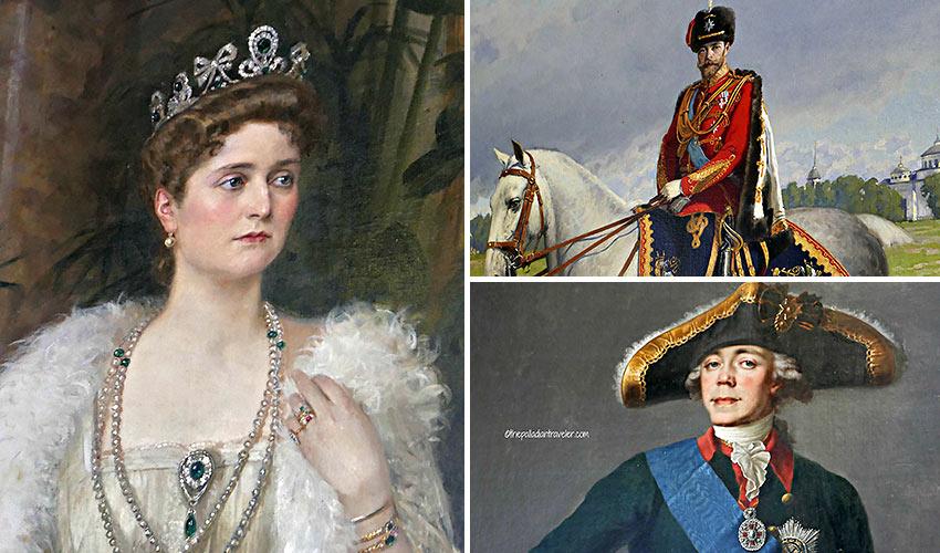 portraits of Empress Alexandra, Tsar Nicholas II and Emperor Paul I