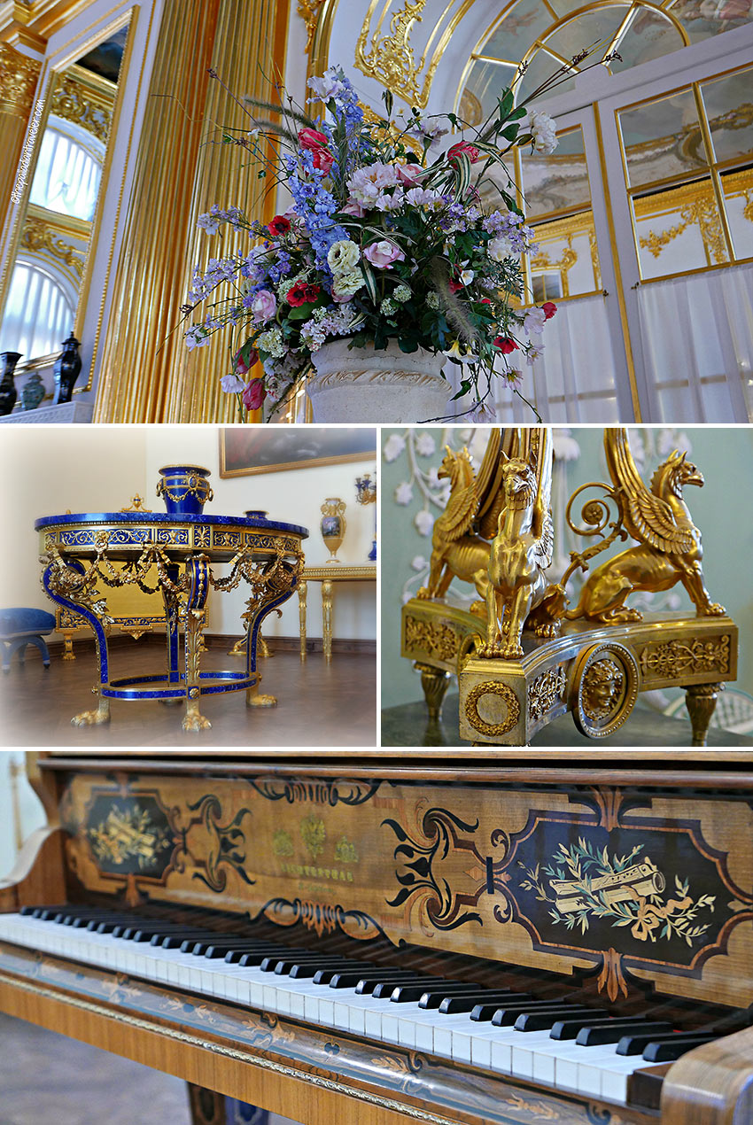 inside the state rooms at Catherine Palace