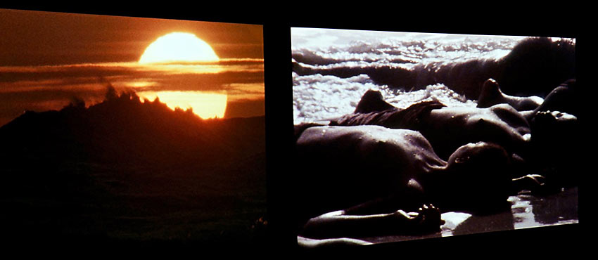 snap of video in The Warmth of Other Suns exhibit