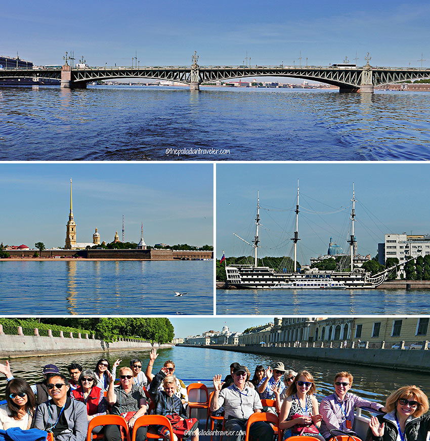 the Troistkiy Most (Trinity Bridge), Peter and Paul Fortress, the sail training ship Mir and boat passengers at the Fontanka