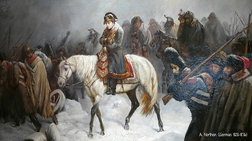 painting of Napoleon Bonaparte during the retreat from Russia, 1812
