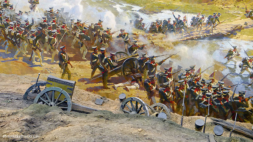 detail of Battle of Borodino painting with set recreation in the foreground