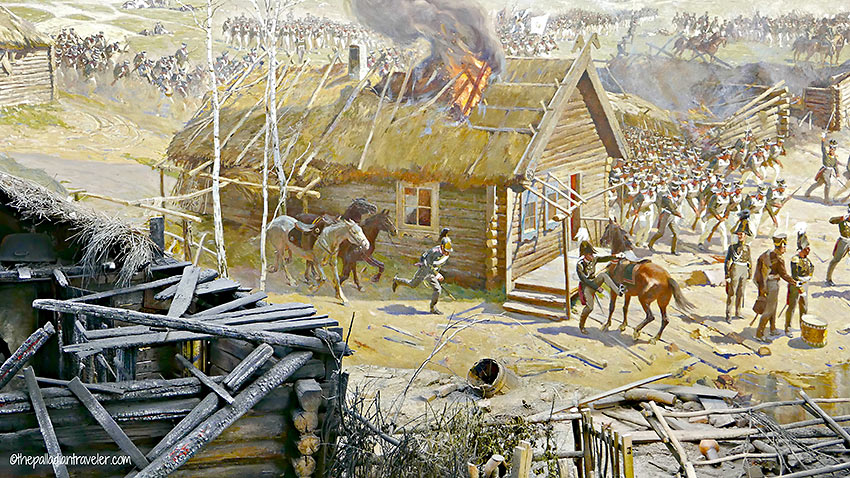 painting of burning hut at the Battle of Borodino