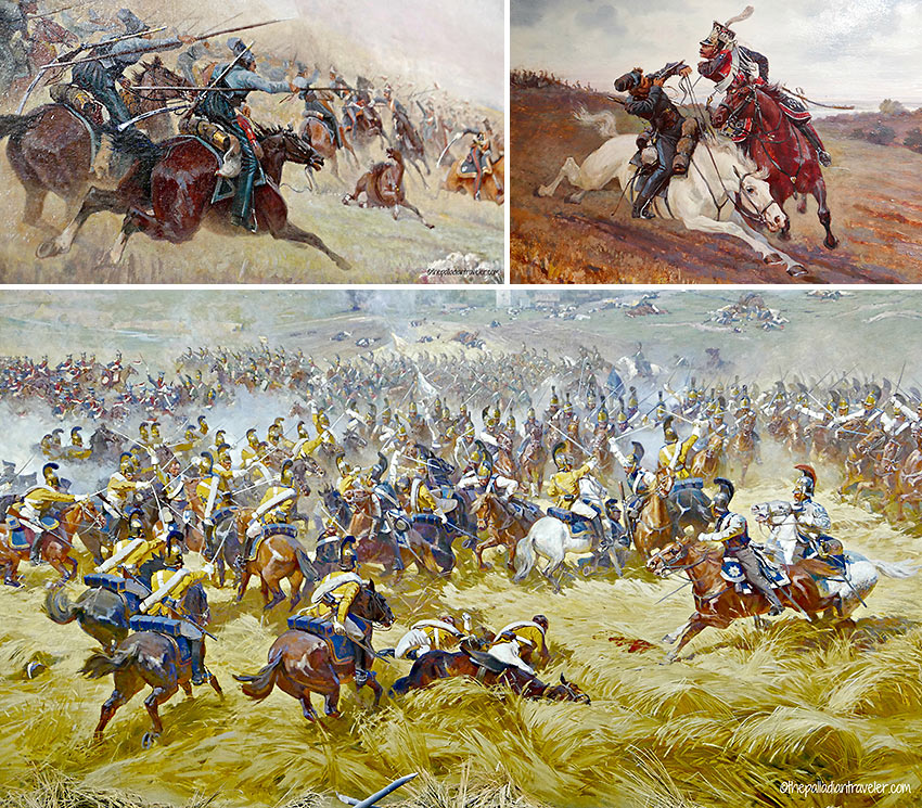 cavalry battle scenes from Franz Roubaud's painting of the Battle of Borodino