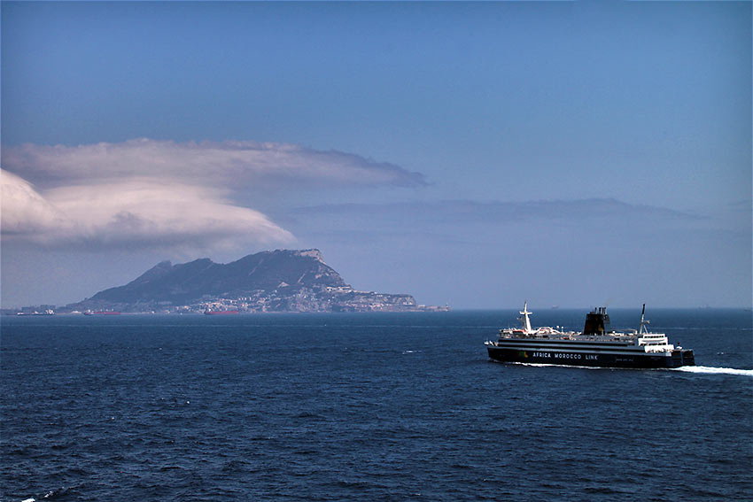 view of Gibraltar taken from the Strait of Gibraltar