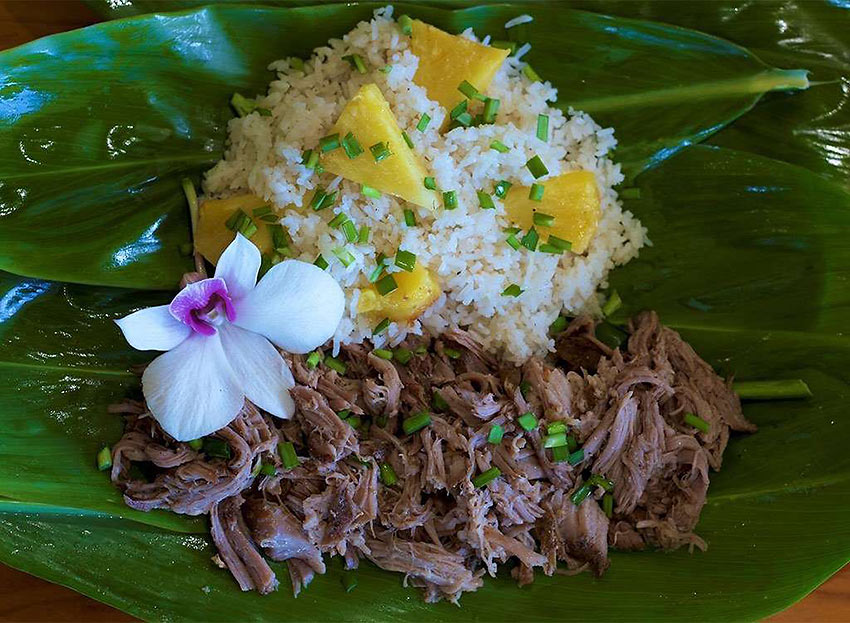 Hawaii: Plate Lunch with Kalua Pig and Rice