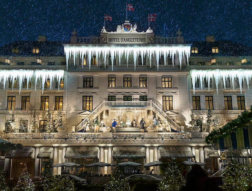 Hotel d'Angleterre at Christmas