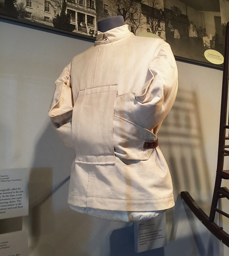 straitjacket on display at a reconstruction of the Public Hospital of 1773, Art Museums of Colonial Williamsburg