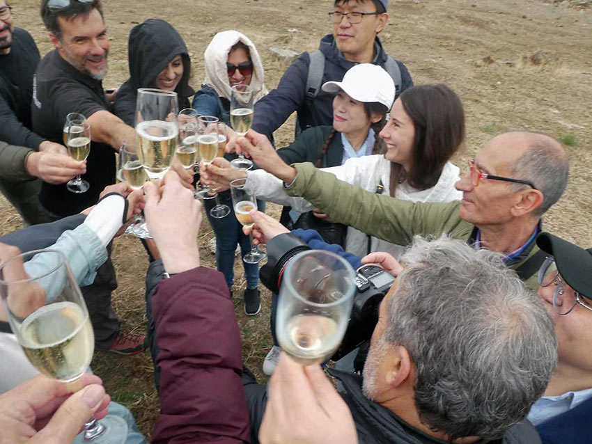 balloonists gathered for a toast