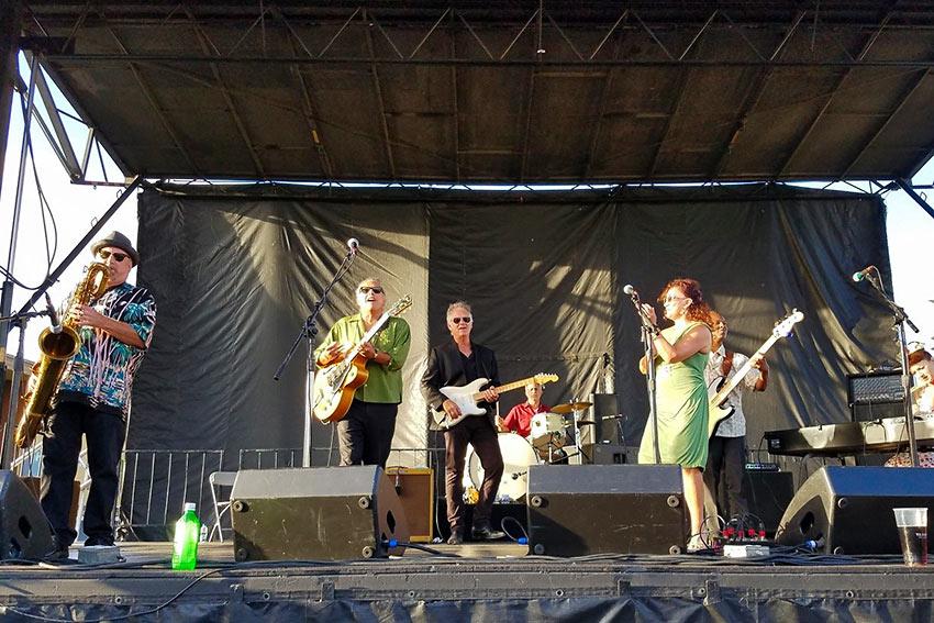 Jonny Viau onstage with Blue Largo and Zach Zunis