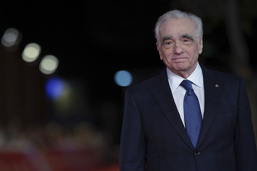 director Martin Scorsese poses on the red carpet of the movie 'The Irishman,' at the Rome Film Fest