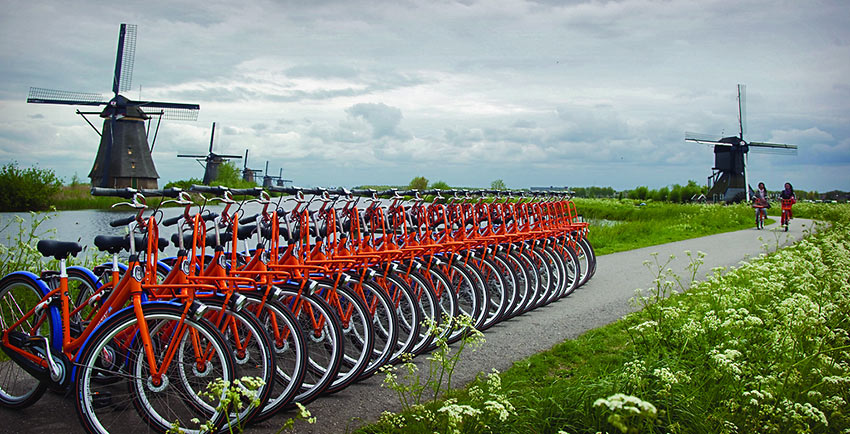 lined-up bikes and bikers, the Netherlands