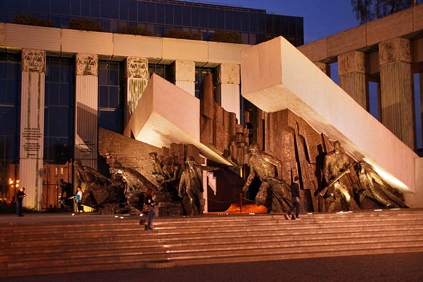 Warsaw Uprising Monument at night