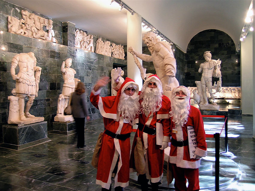 Santa Claus stand-ins at the Antalya Archeological Museum