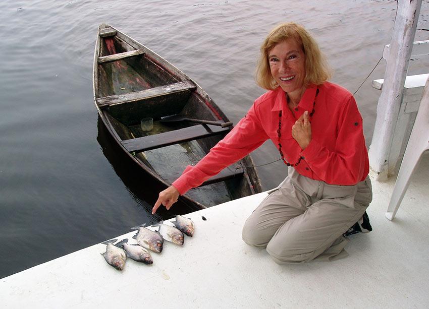 writer with piranha catch