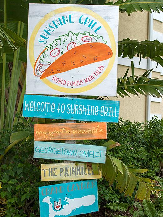 Sunshine Grill sign, Grand Cayman