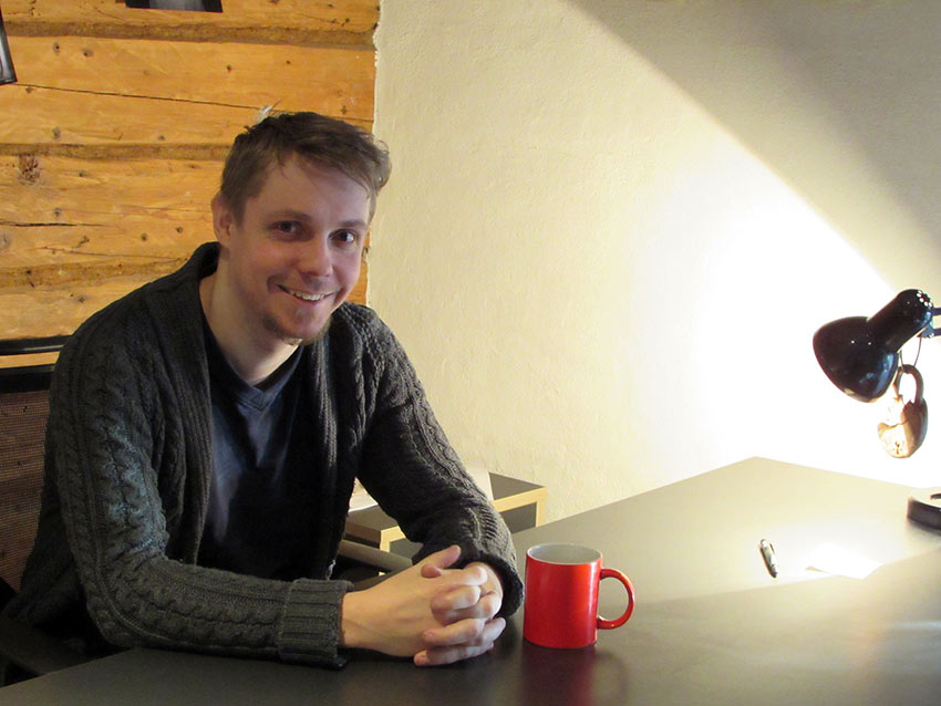 director Tanel Toom taking a coffee break