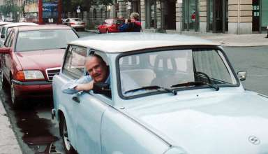 writer John Clayton in a Trabant