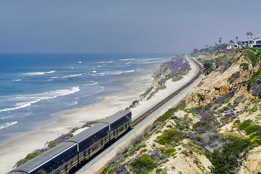 Amtrak train along the California coast