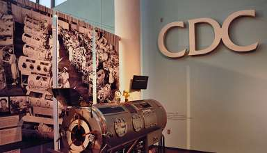 iron lung display at the CDC Museum, Atlanta