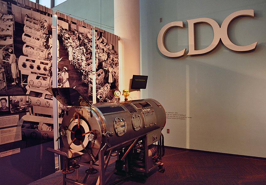 iron lung display at the CDC Museum, Atlanta