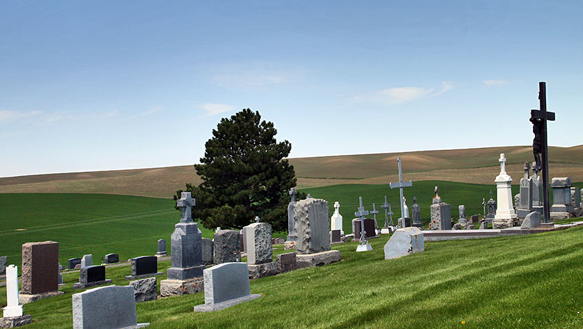 cemetery overlooking the Dahmen Barn