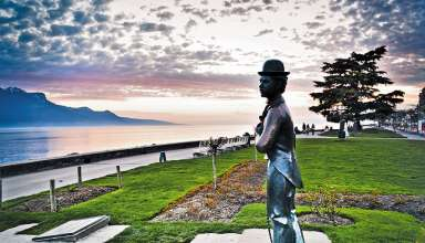 statue of Charlie Chaplin on the shores of Lake Geneva, Switzerland