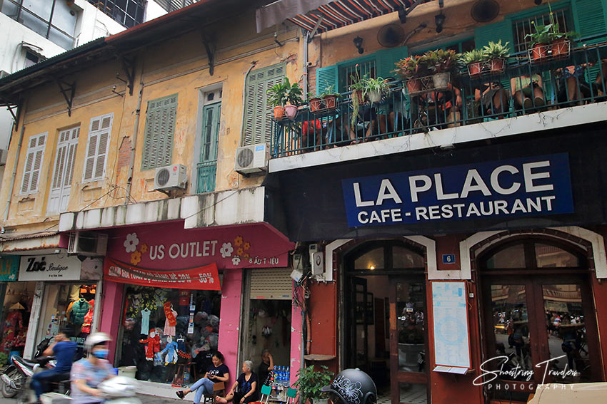 shops and cafes at French colonial-style buidings, Hanoi