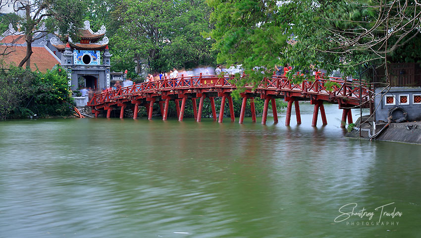 Hoan Kiem Lake with the iconic red bridge