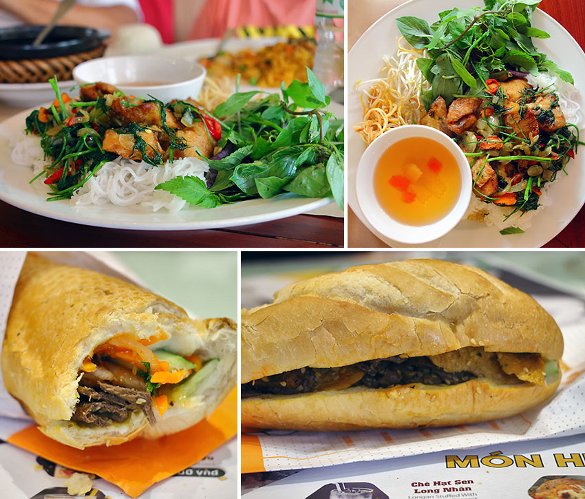 cha ca la vong and vegetarian bánh mi