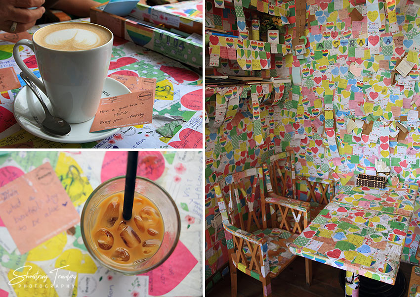 coffee at and interior of The Note Coffee