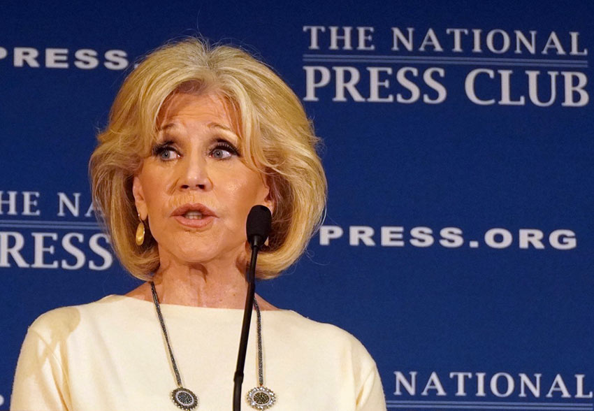 Jane Fonda speaking at the National Press Club