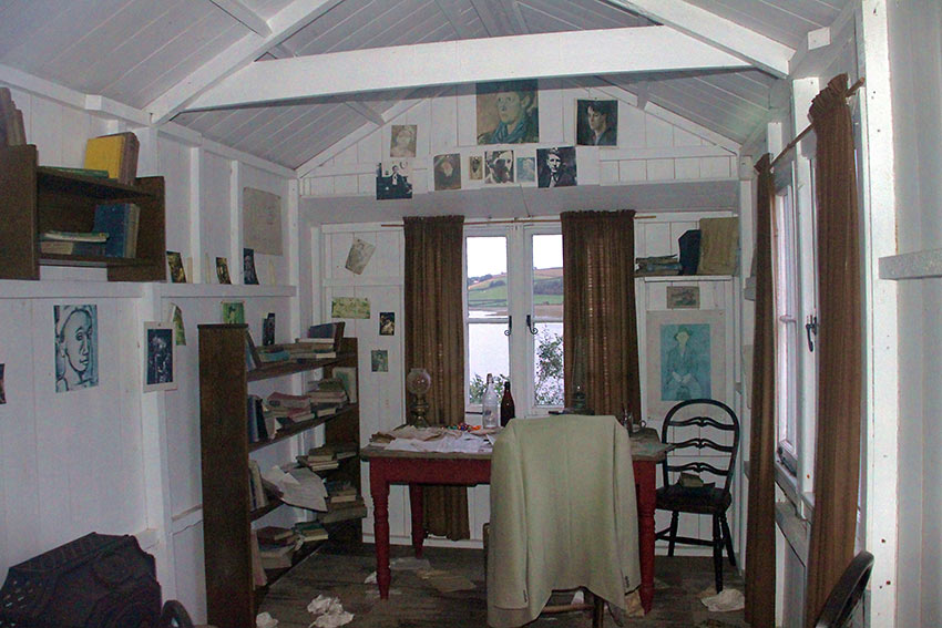 the Writing Shed overlooking the River Taf Estuary
