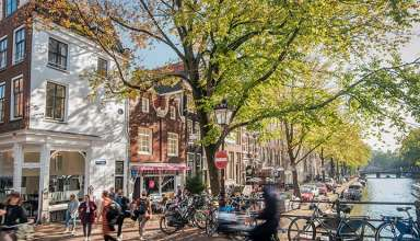 bikes near a canal in Amsterdam