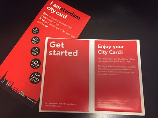 I amsterdam city card booklets