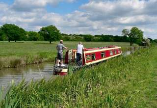 narrowboat on UK waterway