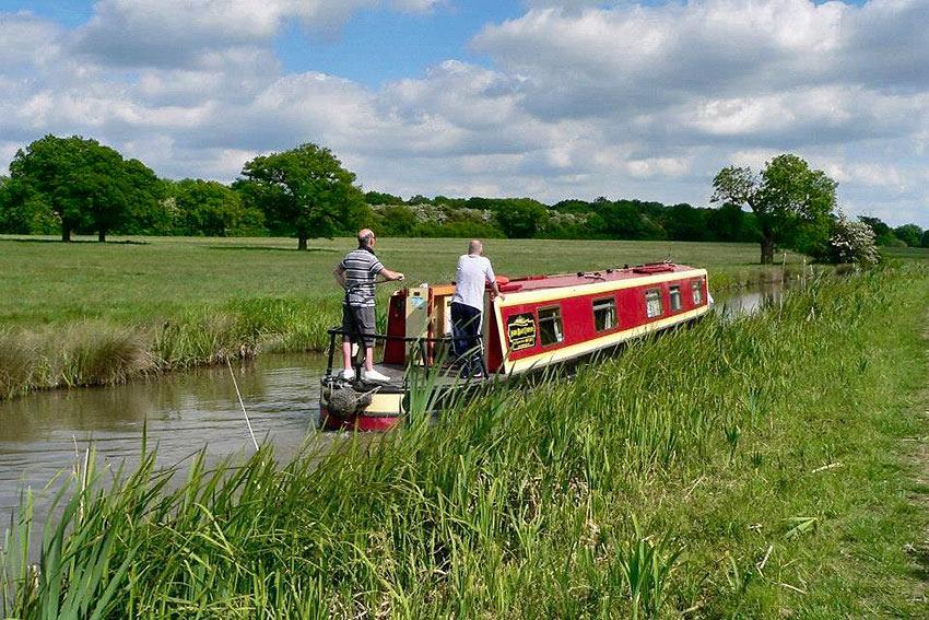 narrowboat on UK waterway