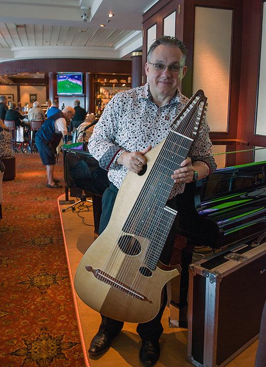 British born Paul Garthwaite with his 22-string guitar