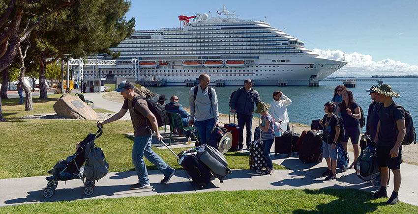 passengers on the Carnival Panorama in Long Beach