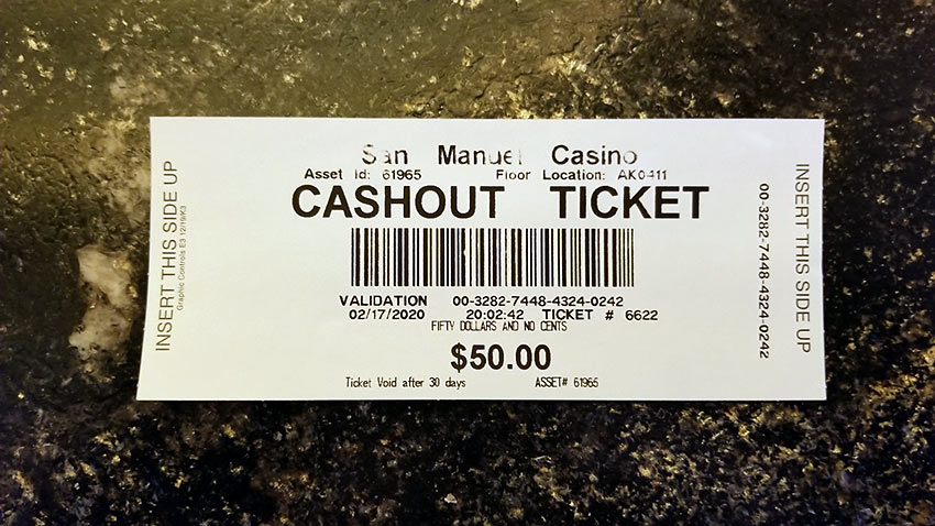 writer's cash out ticket from San Manuel Casino slot machine