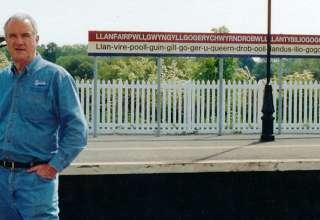 John Clayton on Welsh train station platform