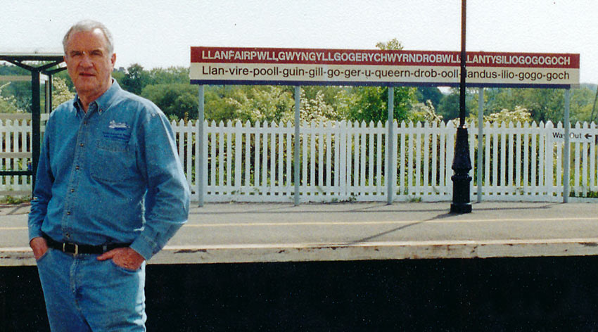 John Clayton on Welsh train station platform