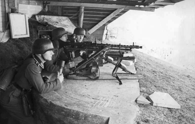 German troops manning Atlantic Wall fortifications