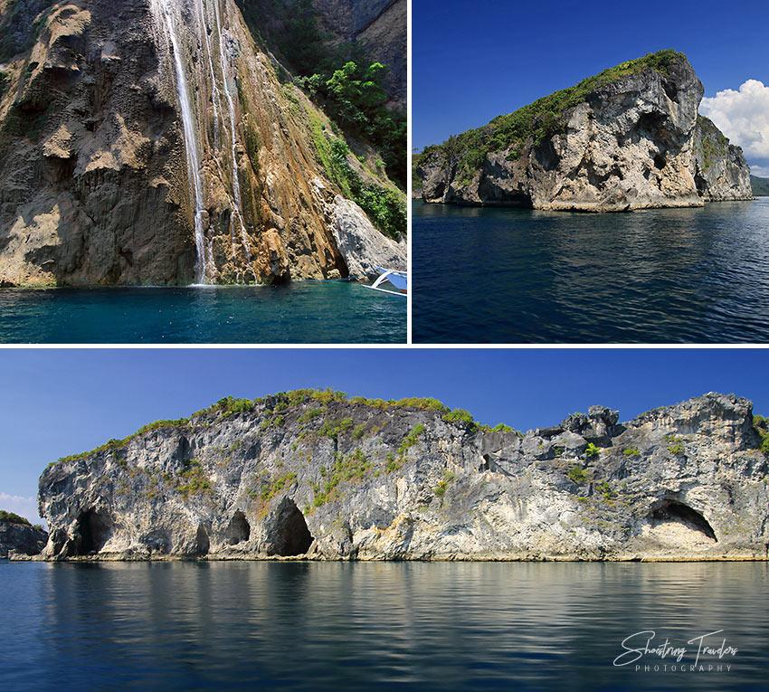 Catandayagan Falls and rock islets off Ticao Island