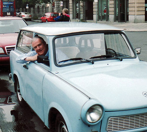John Clayton in a Trabant, Berlin