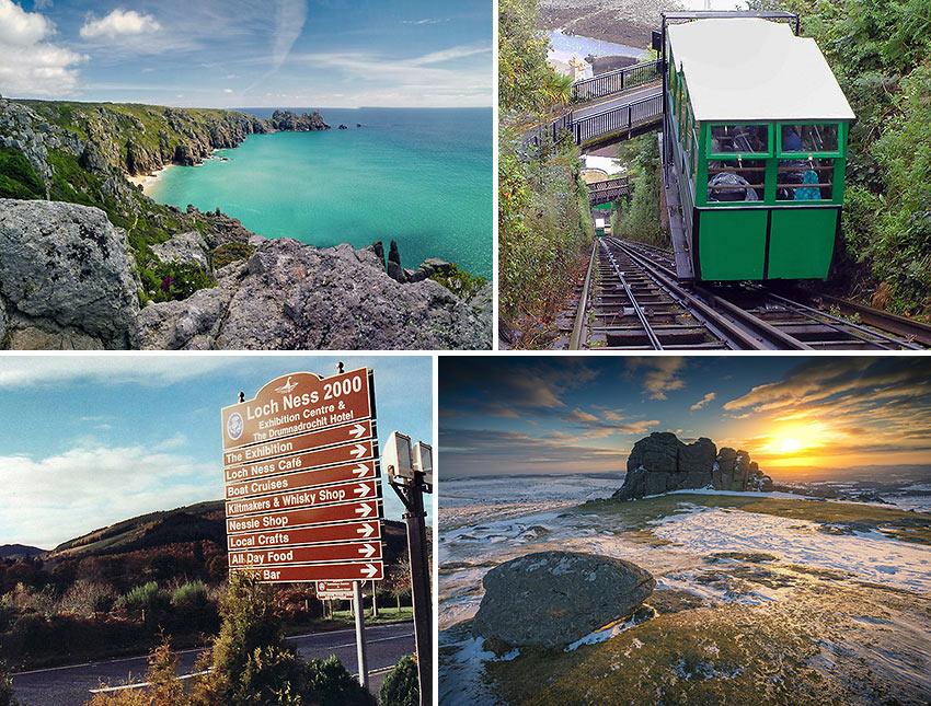 scenes from Scotland, Devon and Cornwall